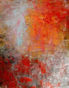 """Abstract Painting, Original 6"""" x 8"""" Acrylic Painting, Textured Abstract with Orange, Red, and Light Blue"""