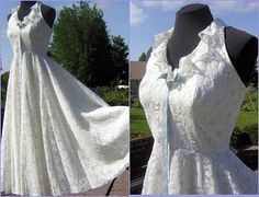 Vintage Nadine White & Baby Blue Lace Halter Prom by DecadencePast, $174.00
