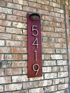 Modern Metal House Numbers mounted on Reclaimed Barn Wood