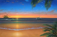 48 Stunning Photo Wall Murals Design Ideas With Seascape Theme To Have - Looking for a fun or colorful theme for your child's bedroom? Tropical island beach themes are popular and beautiful, and can offer many different dec. Art Plage, Beach Wall Murals, Caribbean Art, Romantic Beach, Sunset Colors, Seascape Paintings, Beach Paintings, Beach Scenes, Beach Art