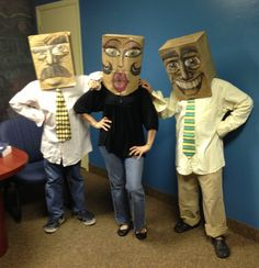 My boys and me having fun with paper bag masks.