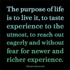 """The purpose of life is to live it, to taste experience to the utmost, to reach out eagerly and without fear for newer and richer experience."" ~Eleanor Roosevelt"