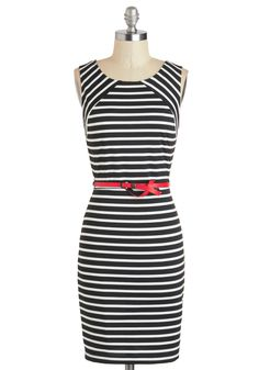 Walk a Divine Line Dress - Black, White, Stripes, Exposed zipper, Belted, Bodycon / Bandage, Sleeveless, Work, Pinup, Vintage Inspired, Mid-length