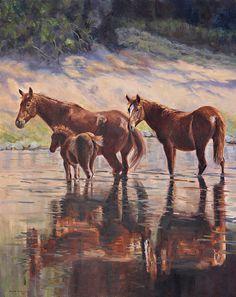 Sorrel Reflections by artist Karen McLain. Beautiful Horse Pictures, Beautiful Horses, Animals Beautiful, Painted Pony, Animal Paintings, Horse Paintings, Oil Paintings, Horse Drawings, Equine Art