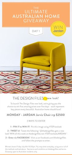 look. Want to win this Jardan chair from The Design Files! Buy Chair, Interior Decorating, Interior Design, The Design Files, Australian Homes, Mellow Yellow, Apartment Living, Sweet Home, Design Inspiration