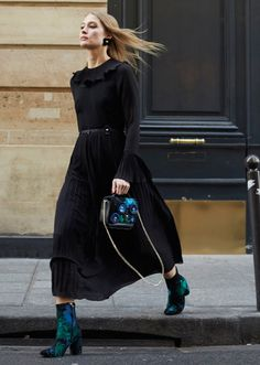Black Dress +  Green Jacquard Boots// @andotherstories