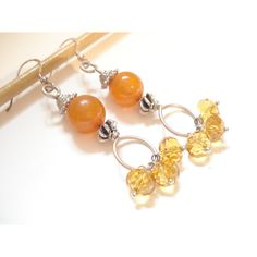 Amber Silver Wire Wrapped Earrings Modern Dangle Beaded Sterling... ($17) ❤ liked on Polyvore featuring jewelry, earrings, sterling silver jewellery, sterling silver bead earrings, beaded dangle earrings, silver bead earrings and dangle earrings