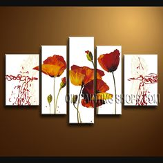 Colorful Contemporary Wall Art Hand Painted Oil Painting Stretched Ready To Hang Poppy Flower. This 5 panels canvas wall art is hand painted by Bo Yi Art Studio, instock - $148. To see more, visit OilPaintingShops.com