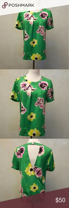 J. Crew green floral top J. Crew green short sleeve floral top with an open back. In great condition J. Crew Tops
