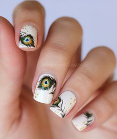 Feather nail art - 40+ Examples of Feather Nail Art  <3 <3