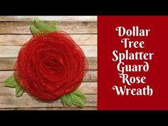 ec315f719 (Please read description box and pinned comment) Dollar Tree Splatter Guard  Deco Mesh Rose Wreath