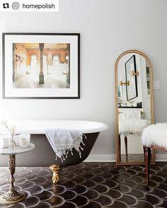 Bathroom goals. Pictured is our Bardot Mirror. (: @homepolish + @amybartlam, design: @rosabeltrandesign)