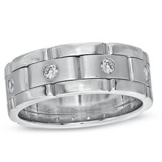 Men's 1/4 CT. T.W. Diamond Brick-Pattern Wedding Band in Sterling Silver