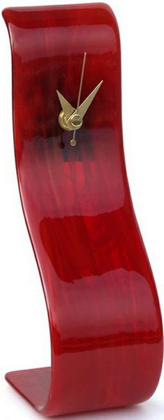 Red Glass Solo Curvy Lounge Clock Handmade and British