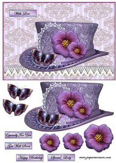 Vintage Hat 5 on Craftsuprint designed by Marijke Kok - Gorgeous vintage hat and fabric flowers, for any occasion - Now available for download!