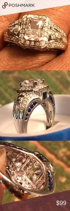 Bridal Piece Sterling Silver and Blue Topaz! This beautiful ring is just the touch you need no one will know it's not the real thing if you don't tell. Have a great day and feed someone along the way! #agodthang Jewelry Rings