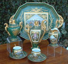 Antique Sevres Empire Porcelain Tea Set circa 1870, for having tea at Giverny  really beautiful tea service