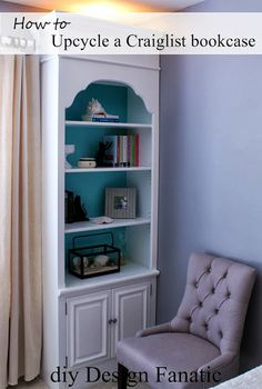 DIY - Transforming Outdated Bookcases From Ugly To Beautiful - They added to the base and the top to make this pair of bookcases taller, and cut out some of the baseboard so they'd rest flush against the wall for a built-in look.  Very clever! (Design Fanatic)