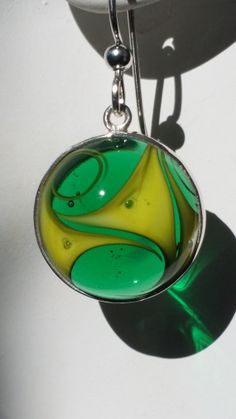 GBGLASSGEMS *Awesome Earrings* Emerald Green & Yellow, look bubble design in each color!!! Murano Gems .999