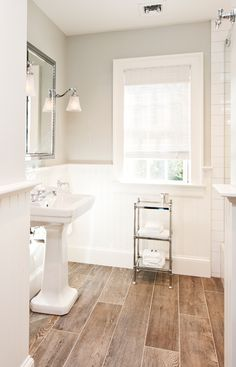 Home Design Ideas: Home Decorating Ideas Farmhouse Home Decorating Ideas Farmhouse Bathroom - Colonial Farmhouse Millbrook, NY Upstairs Bathrooms, Downstairs Bathroom, Bathroom Renos, Bathroom Flooring, Bathroom Ideas, Master Bathroom, Bathroom With Wood Floor, Wainscoting Bathroom, Bathroom Small