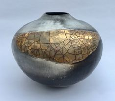Ceramic pot, smoke-fired porcelain with gold lustre. by claireceramics on Etsy https://www.etsy.com/uk/listing/260019628/ceramic-pot-smoke-fired-porcelain-with