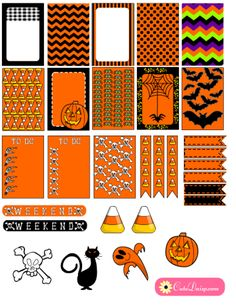 FREE Printable Halloween Planner Stickers In Orange and Black by Cutedaisy [ included Green color / Purple and Black color ]
