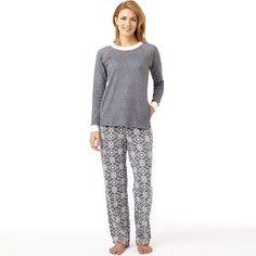 cuddl duds wonderland printed knit pajama set