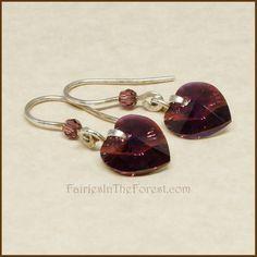 Purple Swarovski Hearts and Sterling Silver EarriPurple Swarovski Crystal Hearts and Sterling Silver Earringsngs