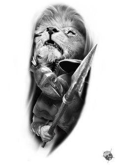 25 Ideas For Tattoo Sleeve Viking Style Skull Tattoos, Body Art Tattoos, Sleeve Tattoos, Cool Tattoos, Tiger Tattoo, Lion Tattoo, Arm Tattoo, Gladiator Tattoo, Spartan Tattoo