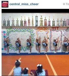 Love the wall! They sign the wall when they master that tumbling skill! i like this idea, can definitely get creative with it : ) All Star Cheer, Cheer Mom, Cheer Stuff, Gym Stuff, Dream Gym, Cheer Hair, Cheer Coaches, Gym Decor, Team Gifts