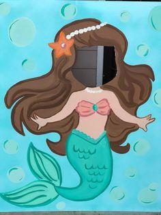 Mermaid Party- Mermaid Birthday- Mermaid Cutout- Mermaid Photo Stand In- Mermaid Face In The Hole- Mermaid Backdrop- Mermaid Decorations- Mermaid Theme Birthday, Little Mermaid Birthday, 3rd Birthday Parties, Birthday Party Decorations, Mermaid Crafts, Mermaid Photos, Mermaid Parties, Party Props, Unicorn Party