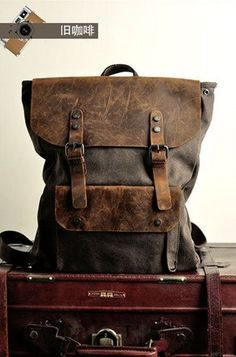16Grey Genuine Cow leather bag canvas BACKPACK by AWESOMEBAG, $59.99