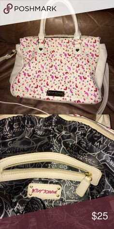 Betsey Johnson purse Betsey Johnson beige, flowered purse, can be used as satchel. Great conditions. Betsey Johnson Bags Satchels