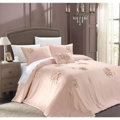 Chic Home Loretta 5-Piece Pink Comforter Set | Overstock.com Shopping - The Best Deals on Comforter Sets