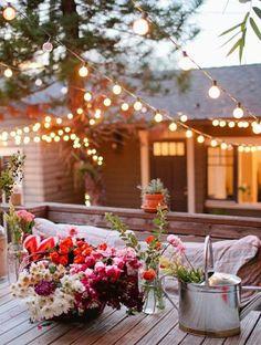 twinkle lights + flowers