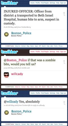 Way to go Boston PD.  That's what I like to hear...keep the public informed in case of a Zombie attack.