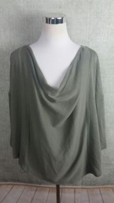 WE THE FREE~FREE PEOPLE Loose Top Olive Green 1/2-Sleeves Draped Neckline Sz XS