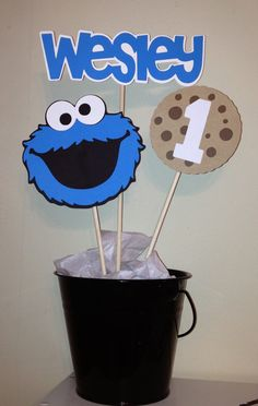 Sesame Street Cookie Monster 3pc. Centerpiece on Etsy, $7.50