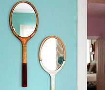 Upcycle old tennis rackets into stylish wall mirrors. This would be really cute idea for child's rooms.
