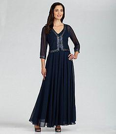 Jkara Beaded-Trim Jacket Gown