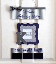 Welcome Baby Boy Navy & Gray Hospital Door Hanger by OliveYewToo