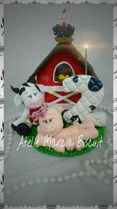 Topo de bolo tema fazendinha em biscuit/porcelana fria. https://www.elo7.com.br/ateliemarciabiscuit/loja