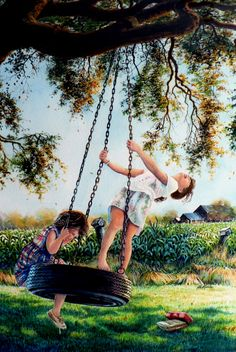 Shop online for art prints of AFTER SCHOOL painting of two little girls swinging on a tire swing in a country farmhouse yard by artist Hanne Lore Koehler. Village Scene Drawing, Art Village, Art Sketches, Art Drawings, Swing Painting, Goldscheider, Village Photography, Creation Photo, Indian Art Paintings