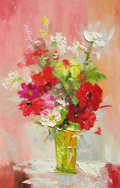 ORIGINAL Oil Painting Bouquet for me 36 X 23 Palette Knife Colorful Flowers White Red Poppy Yellow Green   ART by Marchella on Etsy, $265.00