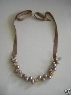 Brand New J Crew Petal and Pearl Ribbon Necklace | eBay