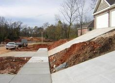 Those are some steep driveways.