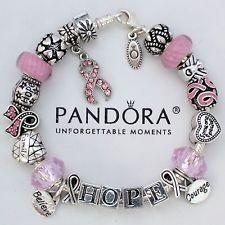 Pandora Bracelet Silver Barrel T Cancer Awareness Pink Ribbon Survivor Hope