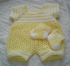 Baby Boys Yellow Sunshine PatternBaby Crochet RomperInfant
