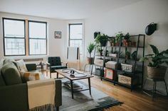 Sharing our living room reveal in partnership with Campaign! Learn how we put together this minimal, cozy space full of greenery in less than a month.