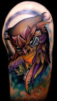 Nice new school owl tat. Nice color